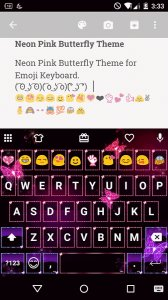 Neon Pink Butterfly Emoji Keyboard