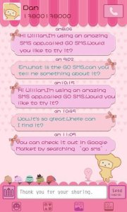 GO SMS Pro Pink Sweet theme