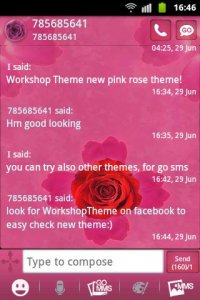 Theme rose pink cute GO SMS