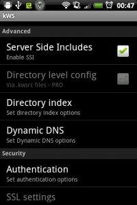 kWS - Android Web Server