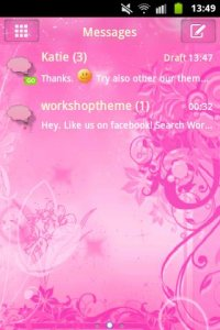 Pink Flowers Theme GO SMS Pro