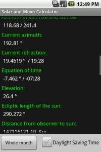Solar and Moon Calculator