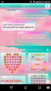 Pink Cloud Emoji Keyboard Skin