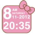 Cute Pink Cat Time Widget