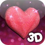 3D Glitter Heart LWP
