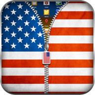 US Flag Zipper Lock Screen