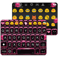 Pink Neon Emoji Keyboard Theme