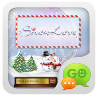 GO SMS Pro Snowlove Popup them