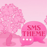 Cat Pink Theme GO SMS Pro