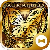 Gold Wallpaper Gothic Butterflies Theme