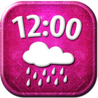 Pink Clock Weather Widget