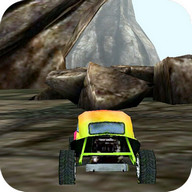 3D Car Racing Rocky Landscape