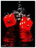Dice in water