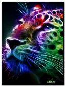 Colorido leopardo de neón