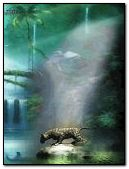 Leopard in jungle scene