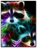 Colorful neon raccoon