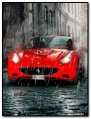 Red car in the rain