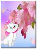 White Cat and pink flowers