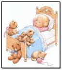 Baby In A Teddy Bear Bed