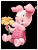 bir çiçek ile piglet