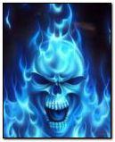 blue flaming skull