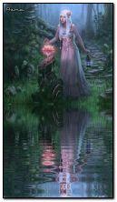 Menina da fantasia com reflexão mágica da flor para MARYLA