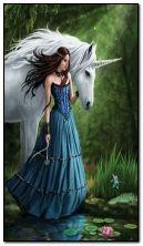 Seorang gadis dengan Unicorn