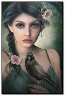 Ragazza con corvo