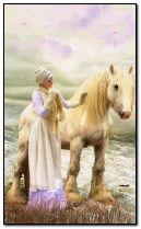 فتاة مع حصان أبيض