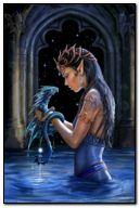 ड्रैगन के साथ काल्पनिक लड़की