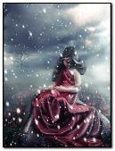 Cute Girl in Snow Fall