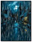 Town in rain