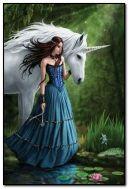 A girl with a unicorn