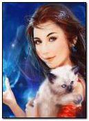 Дівчина та кішка