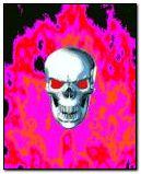 pink flamed skull