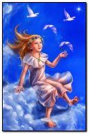 fantasy girl with birds