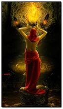 девушка фантазии и огонь