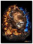 Bull in a fire