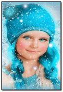 Sevimli mavi kış kız