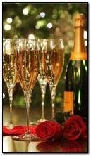güller ve şampanya