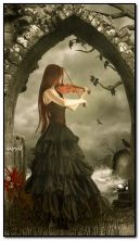 Gothic girl and violin