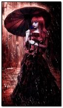 Gothic girl with umbrella