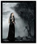 gothic giirl in rain