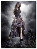ciemna, gotycka dziewczyna