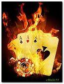 लौ में पोकर कार्ड