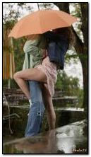 Two under an umbrella.