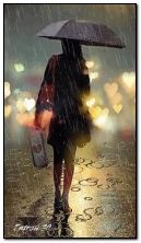 AN?MATEDwalking on the beautiful woman rain in the