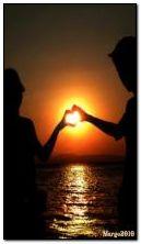 cinta, matahari terbenam