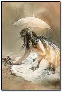 Flower under the rain