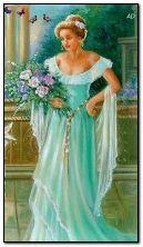 wanita dengan bunga